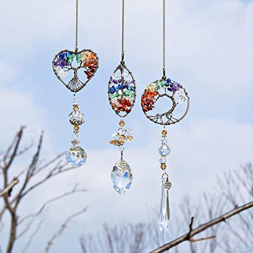 3 Stück Kristall Regenbogen Sonnenfänger Hängende Fenster Glas Anhänger Kristallkugel Prisma für Zuhause Büro Garten Dekoration, Baum des Lebens Kristall Regenbogen Sonnenfänger hängen Glas Anhänger
