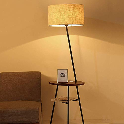 Wellmet Modern Tripod Floor Lamp with Wooden Shelves, Wood Floor Light with Table and USB Ports, Bedside Table for Bedroom- End Table for Living Room Sofa- Reading Light for Relax (Black)