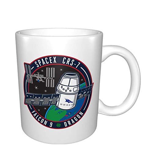 Ahdyr Taza de té de cerámica Tazas de café Spacex Crs 7 Falcon 9 Dragon Fun Tazas de café de 11 oz. Sátira humorística.