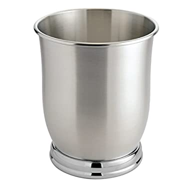 mDesign Round Stainless Steel Small Trash Can Wastebasket, Garbage Container Bin for Bathrooms, Powder Rooms, Kitchens, Home Offices - Brushed Stainless Steel, Polished Chrome Base