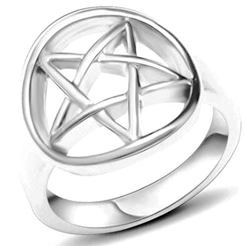 Stainless Steel Star Pattern Statement Cocktail Party Promise Anniversary Ring (Silver, 8)