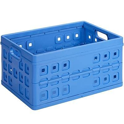 Bac de rangement plastique pliable (H)265x(L)540x(l)380mm bleu capacité de charge 30 kg (SUNWARE Square folding box 46L)