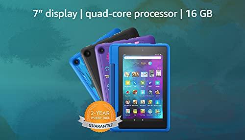 Fire 7 Kids Pro tablet | 7' Display, 16 GB | Sky Blue Kid-Friendly Case | for school-age children