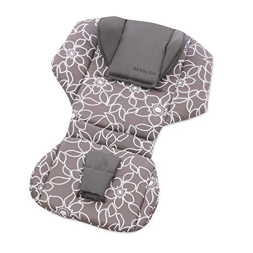 Gesslein Sitzauflage und Kopfstütze Loop Set Cellpur 2 Teile - Design 269 grau weiß Blumen und Blüten