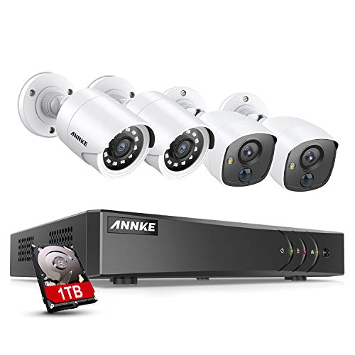ANNKE Surveillance Camera System, 8CH 5MP H.265+ DVR Recorder and 2pcs 1080P PIR CCTV Cameras and 2pcs 1080P Outdoor TVI Cameras, Email Alert with Snapshot, 1TB Hard Drive Included