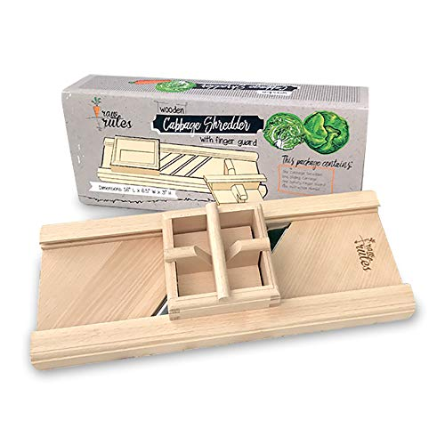 Compact Wooden Cabbage Shredder Slicer with Hand Guard for Finely Cut Sauerkraut and Coleslaw