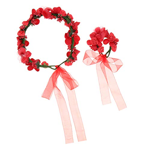 Harilla Hochzeit Braut Blume Girlande Kranz Stirnband Strand Haar Kranz Haarband - Roter Anzug