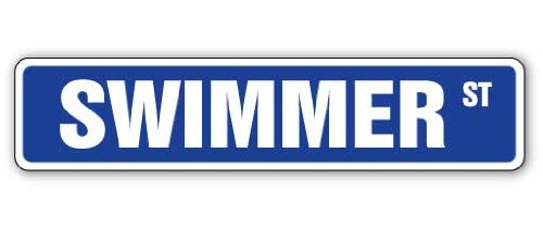 Swimmer Street Sign Swimming Lane Pool Team Coach | Indoor/Outdoor | 18