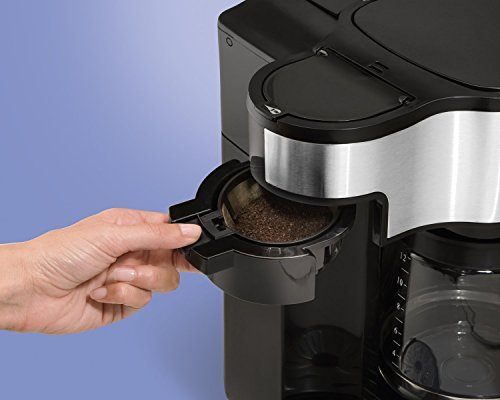Hamilton Beach 49980A 2-Way Brewer Coffee Maker, Single-Serve with 12-Cup Carafe, Stainless Steel