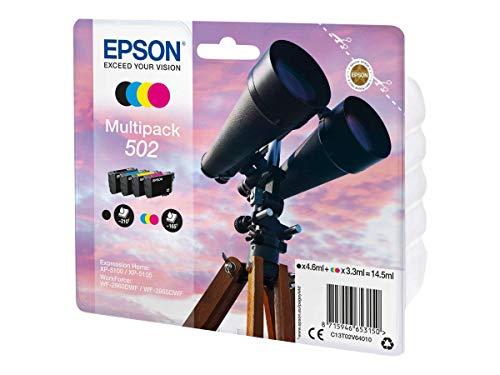 Epson Multipack Druckertinte in 4 Farben 502 / Tintenpatronen (Original, Pigmenttinte, Schwarz, Cyan, Magenta, Gelb, Epson, 4 Stück, Tintenstrahldrucker)