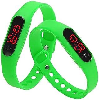 Songlin@yuan Modern Delicate Sports Watches Rubber LED Women Mens Date Sports Bracelet Digital Wrist Watch Fashion (Color : Green)