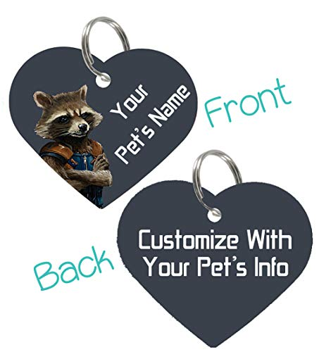 uDesignUSA Disney Guardians of The Galaxy Double Sided Pet Id Tags for Dogs & Cats Personalized for Your Pet (Rocket Raccoon, Heart Shaped)