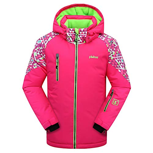Victrax Girl's Warm Ski Jacket Outdoor Youth Waterproof Snow Jacket Print2 6X