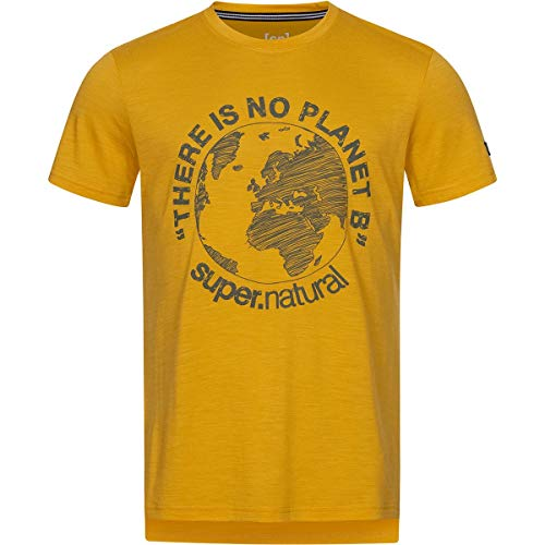 super.natural T-Shirt, Tawny Mustard/Olive Night Planet B, S Mens