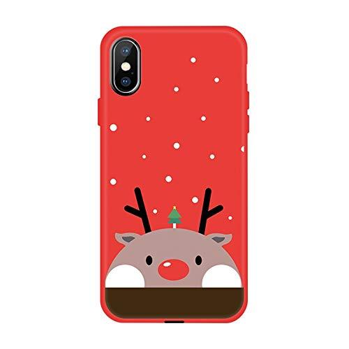 VHR Fundas Caja del Teléfono De Invierno para iPhone XS MAX XR XS X 8 7 6 6S Plus Funda De TPU Suave Encantadora para iPhone 7 8 6 6S Plus X Funda De Navidad Funda, 04, para iPhone 7 Plus