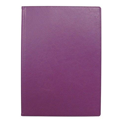 手帳カバー A5 パープル ノートカバー ブックカバー 無地 横開き 合皮 手帳式 PUレザー