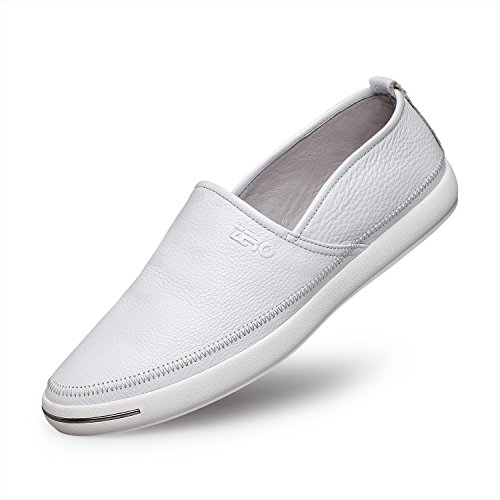 ZRO Men's Leather Slip On Casual Loafers Moccasin Shoes WHITE US 8.5