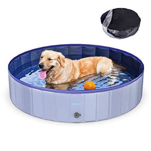 Funyole Faltbarer Hundepool für Hunde und Katzen, Planschbecken für Kinder, Schwimmbecken Hund mit PVC-rutschfest Verschleißfest für Garten, Garten, Innenbereich (mit Poolabdeckung) (120 × 30 cm)
