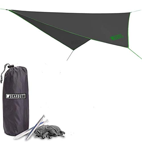 Bear Butt Rain Fly Easy Set Up Portable Hammock Tarp Shelter - Made of Quality Lightweight Waterproof Tent Polyester - Perfect Cover While Backpacking Outdoors Camping and Hiking (Green)