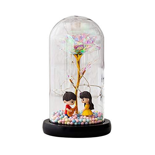Aosong Luz nocturna LED de flores artificiales, luz nocturna, luz nocturna de carga LED, luz de color real, accesorio para el hogar, día de San Valentín, Navidad, cumpleaños, bodas