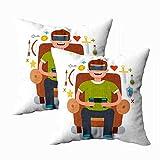 Fundas de almohada con cremallera, Fundas de almohada divertidas Tamaño estándar Hombre sentado en u...