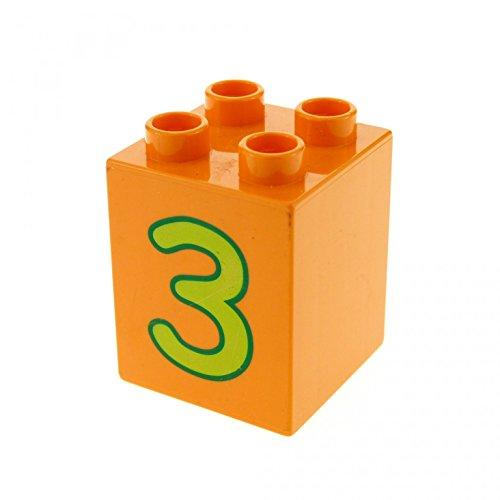 1 x Lego Duplo Basic Bau Stein orange 2 x 2 x 2 hoch bedruckt mit Nummer 3 für Set Zahlen Lernspiel 5497 31110pb023