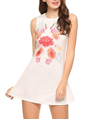 SE MIU Damen Tank Kleid Boho ärmellos Sommer Casual Swing Kleid mit Taschen Classic X-Large rot