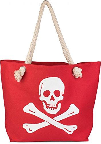styleBREAKER Bolso de Playa con Estampado de Calavera y Cremallera, Bolso de baño, Bolso de Hombro, Bolso de Tipo «Shopper», señora 02012104, Color:Rojo-Blanco