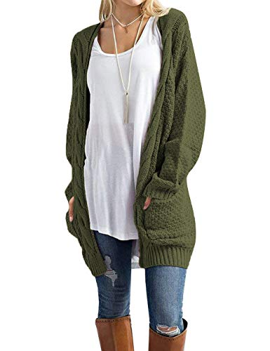 Traleubie Women's Boho Long Sleeve Open Front Chunky Warm Cardigans Pointelle Pullover Sweater Blouses Green XL