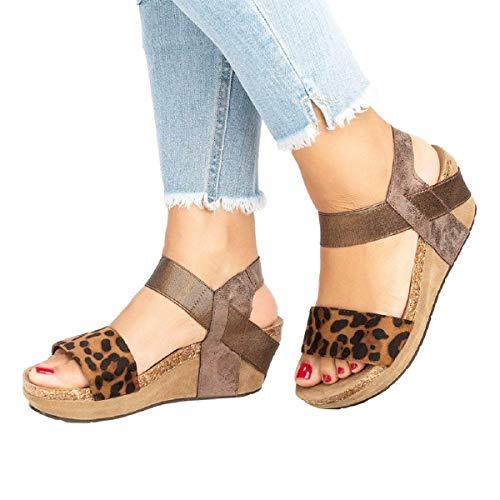 Sandalias Mujer Verano 2019 Sandalias con Punta De Cuña De Cuña Gruesa Romana De Leopardo Vintage Sandalias Tacones Altos Zapatillas Zapatos Chanclas Tacon(Caqui,39)