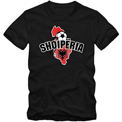Albanien WM 2018#1 T-Shirt | Shqiperia | Fußball | Herren | Kuq e zinjtë | Trikot | Nationalmannschaft, Farbe:Schwarz (Deep Black L190);Größe:XL