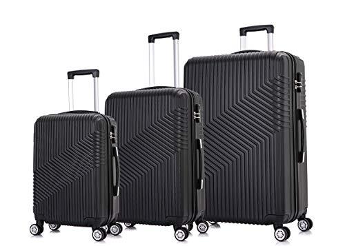 Frentree Hartschalen-Koffer 02 | Trolley Reisekoffer Handgepäck mit 4 Rollen M-L-XL-Set zum Auswahl, Koffer Standard Farbe:Schwarz, Koffer Standard Größe:Set(3Teilig)