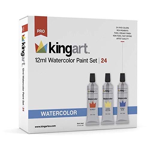KingArt PRO Set Watercolor Paint, 24 ea, Unique Colors Piece