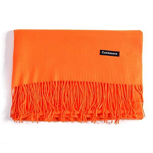 Nachahmung Kaschmirschal Herbst und Winter Quaste Lange Damen warme einfarbig veränderbar Schal, orange