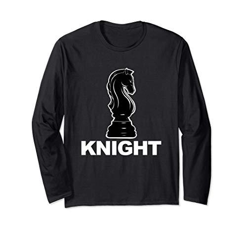 Black Knight Chess Knight Chess Player Black Knight 長袖Tシャツ