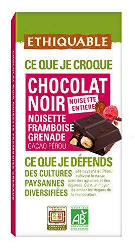 puissant Chocolat Noir Eticuble 65% Noisette Entière Framboise Grenade Pérou Bio 100g