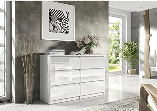 3xEliving Cómoda espaciosa y Elegante Demii 6 cajones 140 cm, Color Blanco/Blanco Brillante, Sala de Estar, la Oficina, el Dormitorio, Dimensiones: 140 x 38 x 78 cm.