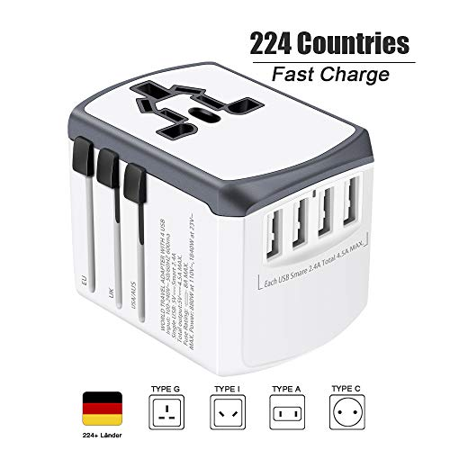 Reiseadapter Reisestecker Weltweit 224+ Ländern Universal Travel Adapter mit USB und AC Steckdosenadapter Internationale Reiseadapter für USA England Australien Europa Deutschland China Thailand Usw