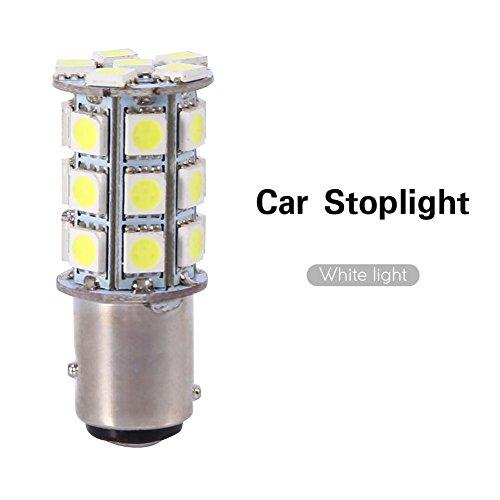 Feu de Stationnement, Keenso Feux de Freinage 1157 BA15D BAY15D 27SMD 5050 pour Feu Stop Brillant Blanc LED Clignotant/Frein/Queue/Inverse