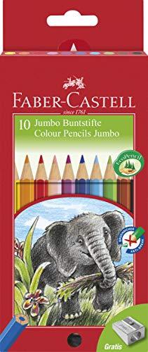 Faber Castell 111210 - Farbstifte Jumbo, 10er Kartonetui inklusive Spitzer