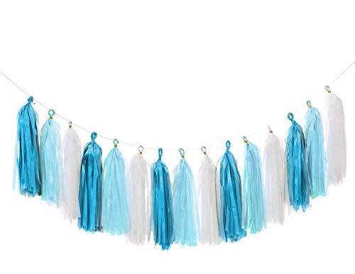 Yueshop 15Pcs Tassel Garland Tissue Paper Tassels for Birthday Party Baby Shower Hen Party Wedding Hanging Decorations (Blue White)