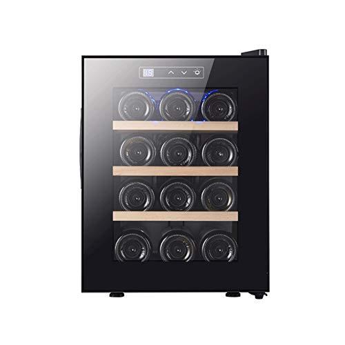 LJJOO 12 botella de vino refrigerador refrigerador mini nevera de vino control de temperatura digital refrigerador de vino con acero inoxidable y puerta de vidrio templado de doble capa Frigoríficos m