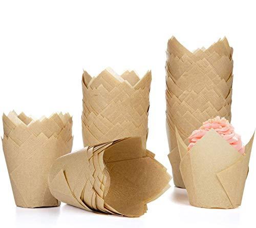 Diealles Shine 200Pcs Tulip Pirottini di Carta, Tulip Cupcake Liners Pirottini di Carta per Muffin, Ideali per Feste di Compleanno, Matrimoni, Baby Shower, Naturale