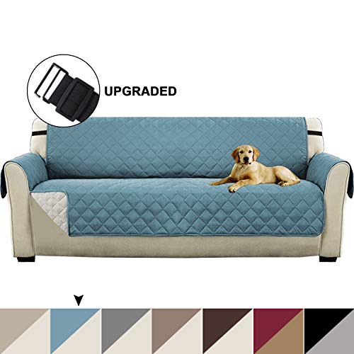 """Turquoize Reversible Sofa Slipcover Quilted Furniture Protector for Extra Large Sofa Protector Cover for Living Room Seat Width Up to 78"""" Sofa Covers Protect from Dogs Pets (XL Sofa-Smoke Blue/Beige)"""