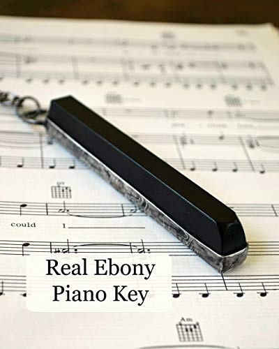 Real Ebony Piano Key Necklace or Key Ring, Unique Handmade Gift Idea for Musician, Pianist, Organist or Music Teacher
