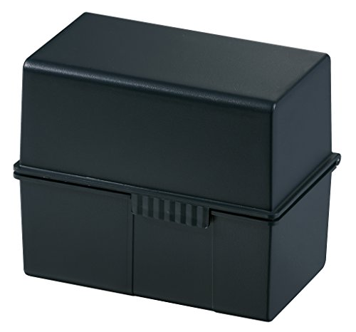 HAN Karteibox DIN A7 quer – innovatives, attraktives Design für 300 Karteikarten mit Stahlscharnier, schwarz, 977-13