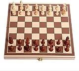 Juego de juegos de mesa de entretenimiento Conjunto de ajedrez internacional de madera plegable con juego de ajedrez de viaje plegable portátil juego Juegos de entretenimiento familiar Juego de tabler