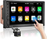 Autoradio Bluetooth - Android Doppel Din Autoradio mit Navi,MP5 Player 7'' Touchscreen Unterstützt Geteilter Bildschirm,Freisprecheinrichtung,WIFI,Mirror Link,FM Radio,USB,Autoradio mit Rückfahrkamera