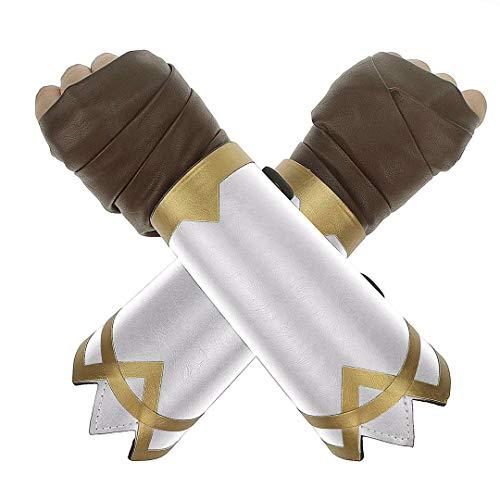 Udekit Einstellbar Leder Armband mit Braun Hand Verpackung Handschuhe für Frauen Mädchen Kinder Cosplay Zubehör (2 Stück/Set)