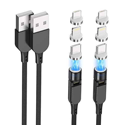 2-Pack/6.6ft Magnetic 3 in 1 Charger Cable for Android and iPhone,Magnet Phone Fast Charging Cord Right Angle 180 Degrees for iPhone iPad Lightning Cable,Samsung Galaxy USB Type C,Kindle Micro USB